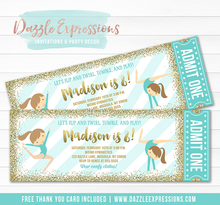 Gymnastics Glitter Ticket Invitation 5 - FREE thank you card