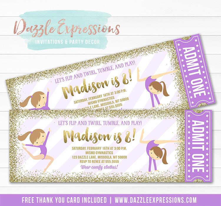 Gymnastics Glitter Ticket Invitation 6 - FREE thank you card