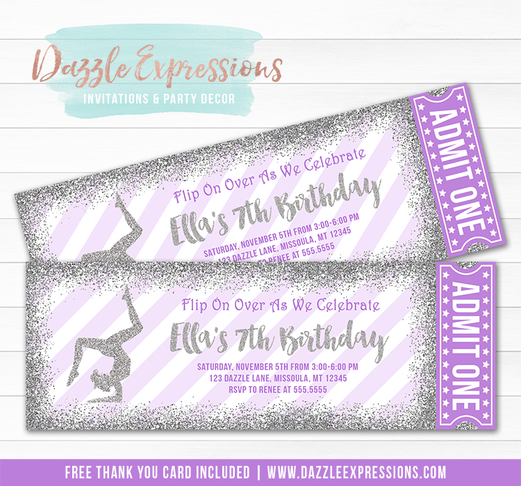 Gymnastics Glitter Ticket Invitation 3 - FREE thank you card