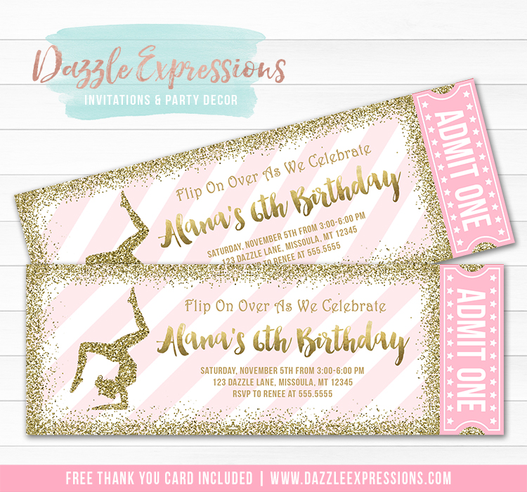 Gymnastics Glitter Ticket Invitation 1 - FREE thank you card