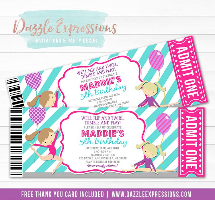 Gymnastics Ticket Birthday Invitation 2 - Thank You Card Included