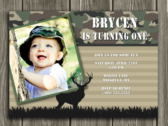 Hunting Birthday Invitation 2 - FREE Thank You Card Included