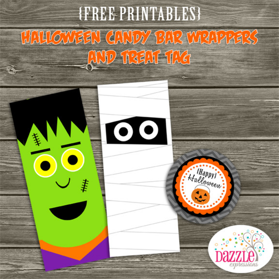 Halloween Candy Bar Wrappers & Treat Tag