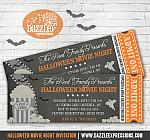 Halloween Movie Chalkboard Ticket Invitation