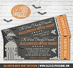 Halloween Movie Chalkboard Ticket Invitation