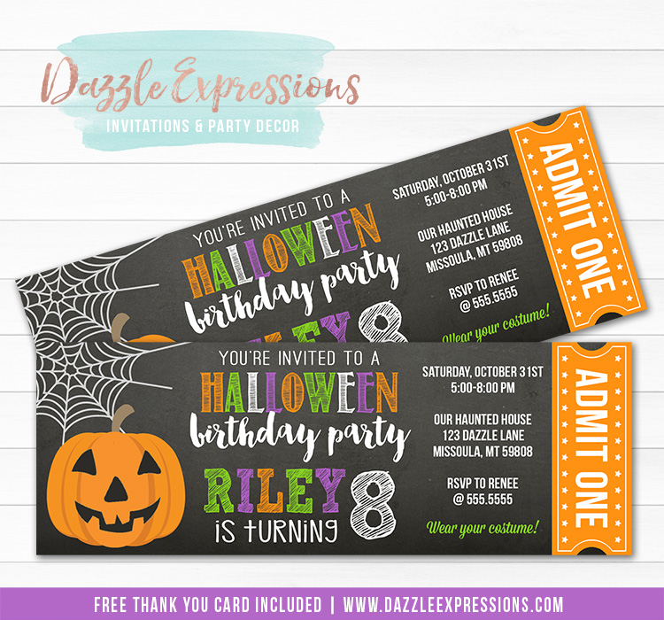 Halloween Party Ticket Invitation - FREE thank you card included