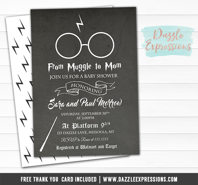 Wizard Baby Shower Chalkboard Invitation - FREE thank you card