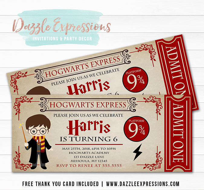 Harry Potter Inspired Ticket Invitation - FREE thank you card