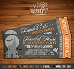 Halloween Haunted House Chalkboard Ticket Invitation