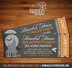 Halloween Haunted House Chalkboard Ticket Invitation