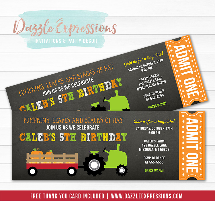 Hay Ride Chalkboard Ticket Invitation - FREE Thank You Card Included