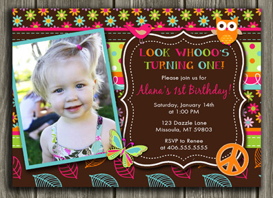 Hippie Chick Inspired Birthday Invitation - Thank You Card Included