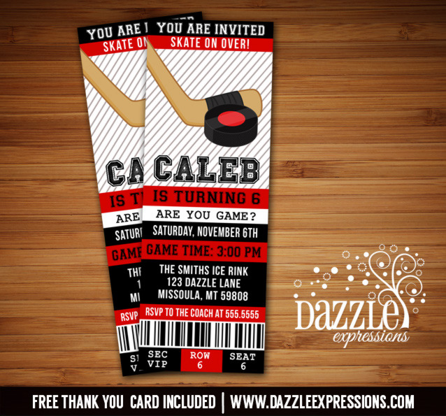 Hockey Ticket Birthday Invitations - FREE thank you card included