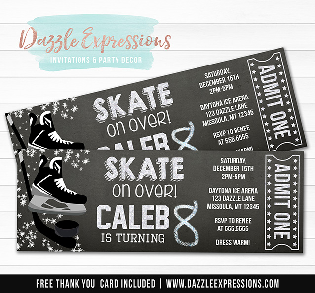 Hockey Chalkboard Ticket Invitation - FREE thank you card