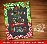 Holly Jolly Chalkboard Christmas Birthday Invitation - FREE thank you card included