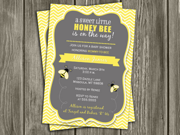 Honey Bee Baby Shower Invitation - Thank You Card Included