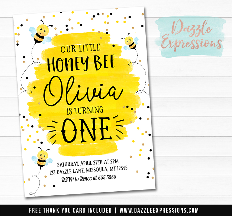 Honey Bee Watercolor Invitation 1 - FREE thank you card
