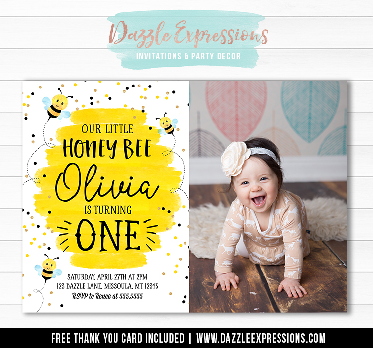 Honey Bee Watercolor Invitation 2 - FREE thank you card