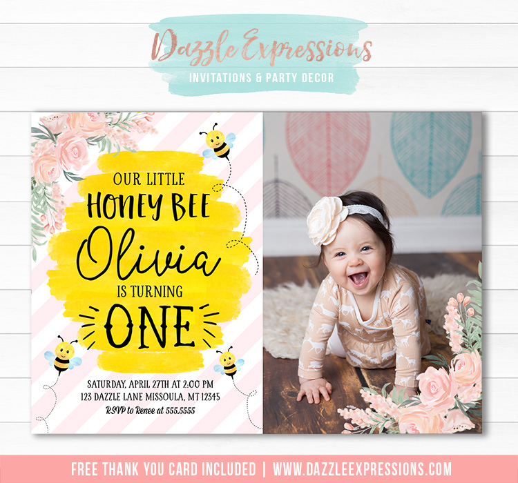 Honey Bee Watercolor Invitation 3 - FREE thank you card