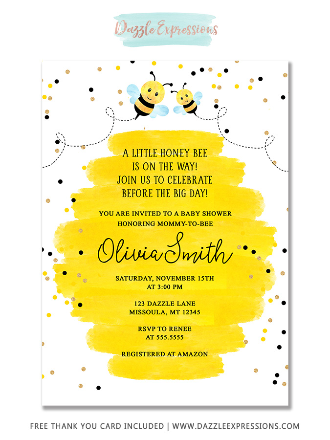 Honey Bee Watercolor Baby Shower Invitation - FREE thank you card