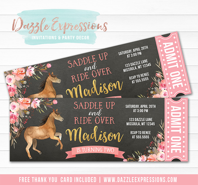 Horse Chalkboard Ticket Invitation 1 - FREE thank you card