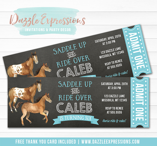 Horse Chalkboard Ticket Invitation 2 - FREE thank you card