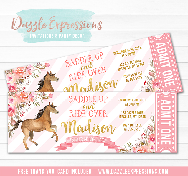 Printable Floral Watercolor Horse Ticket Birthday Invitation