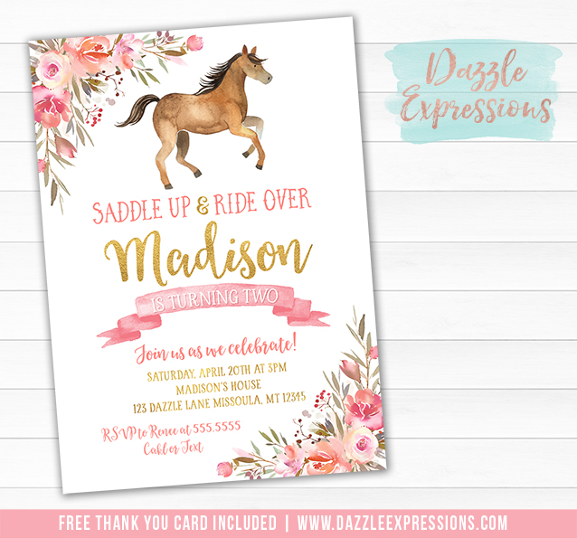 Horse Watercolor Invitation 1 - FREE thank you card included