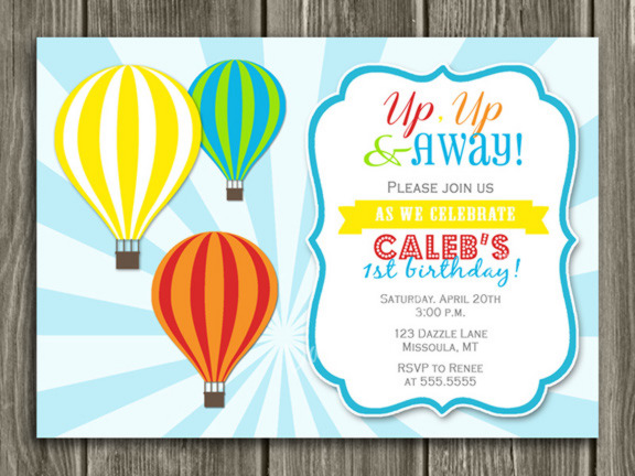 Hot Air Balloon Birthday Invitation 1 - Thank You Card Included