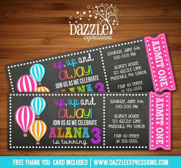 Hot Air Balloon Chalkboard Ticket Invitation 1 - FREE thank you card included