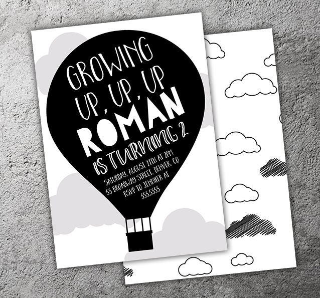 Hot Air Balloon Invitation 3 - FREE thank you card