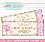 Hot Air Balloon Ticket Invitation 4 - FREE thank you card included