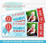 Hot Air Balloon Ticket Invitation 5 - FREE thank you card included