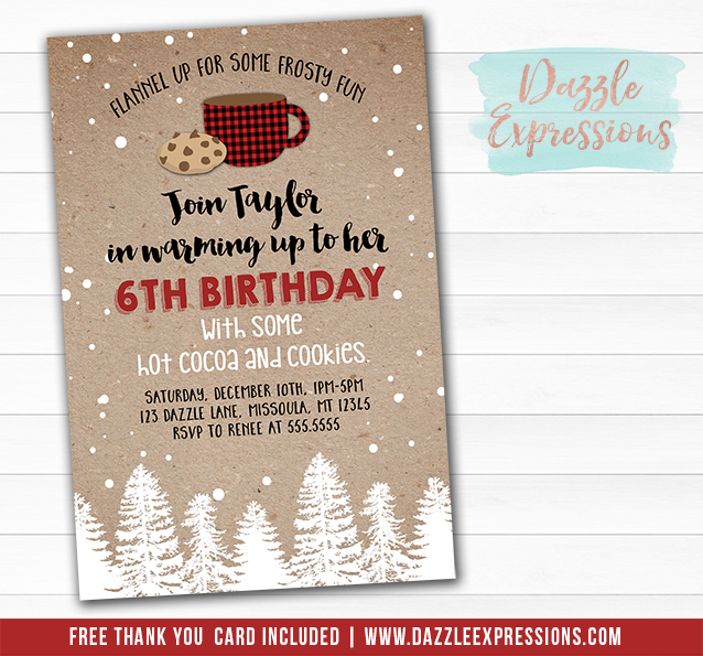 Printable Plaid Hot Cocoa And Cookies Invitation Kids Winter