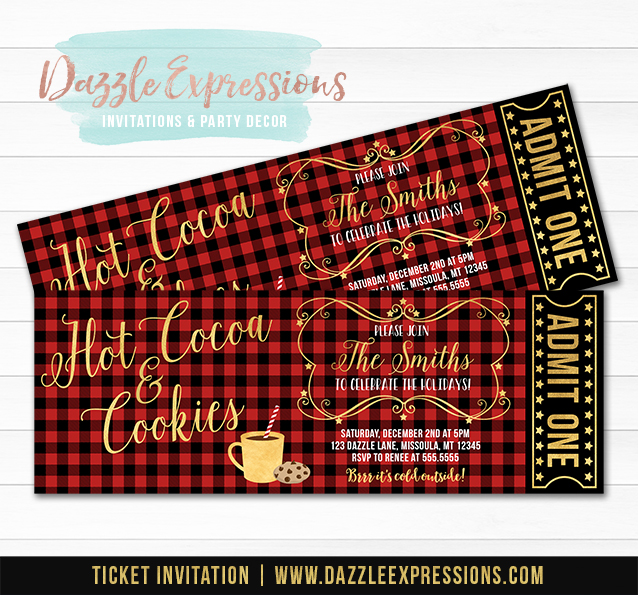 Hot Cocoa and Cookies Plaid Ticket Invitation