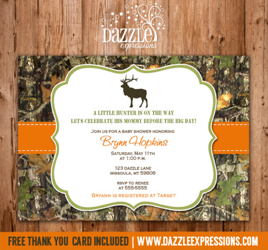 Mossy Oak Hunting Baby Shower Invitation 1 - FREE thank you card included