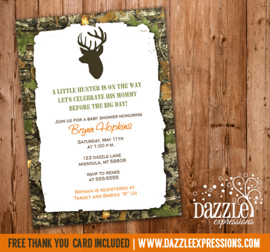 Mossy Oak Hunting Baby Shower Invitation 2 - FREE thank you card included