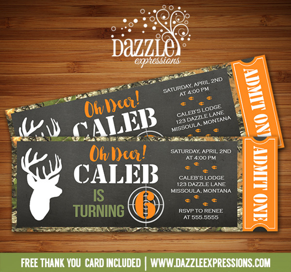 Hunting Chalkboard Ticket Invitation - FREE thank you card included
