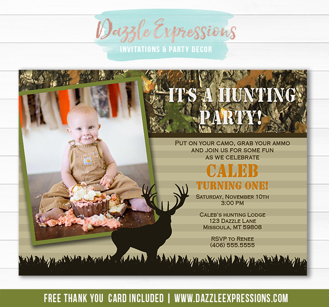 Hunting Birthday Invitation 1 - FREE Thank You Card Included