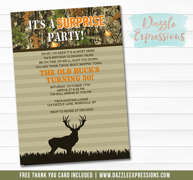 Hunting Surprise Invitation 2 - FREE Thank You Card Included