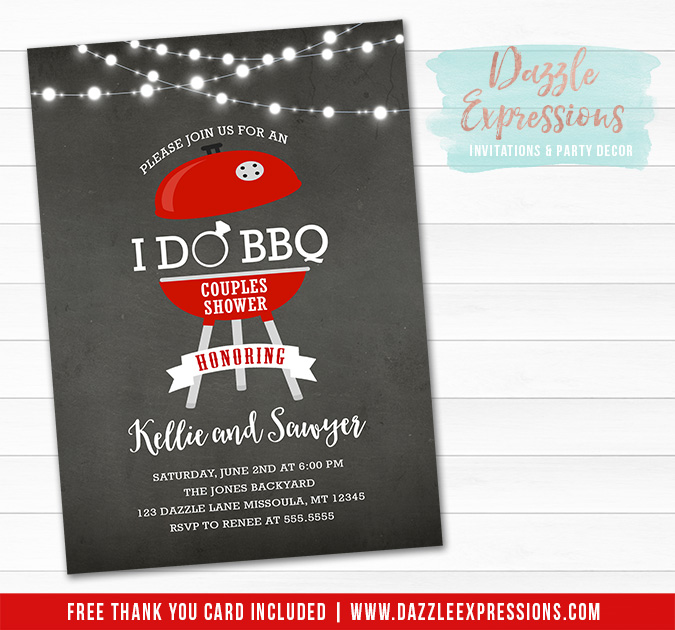 I Do BBQ Chalkboard Invitation - FREE thank you card
