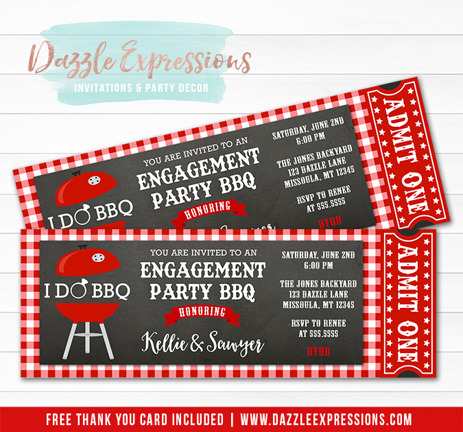 I Do BBQ Ticket Invitation - FREE thank you card