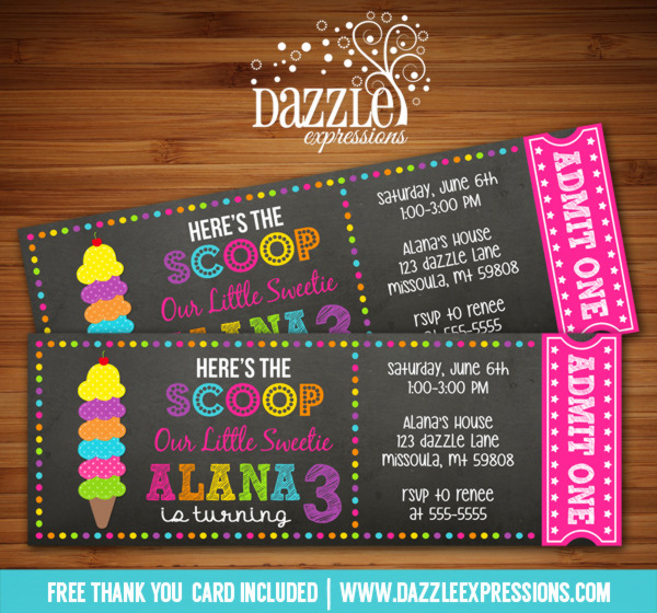Ice Cream Chalkboard Ticket Invitation - FREE thank you card included