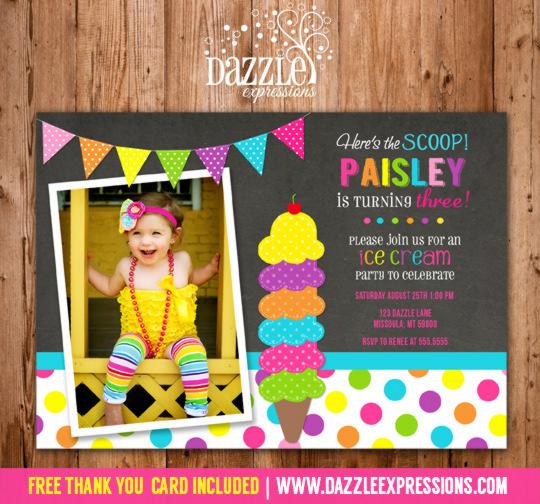 Ice Cream Chalkboard Birthday Invitation - FREE thank you card included