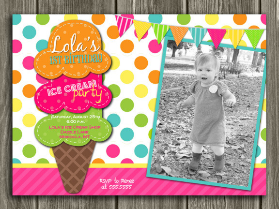 Printable Girl Ice Cream Birthday Photo Invitation Kids Sundae