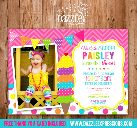 Ice Cream Birthday Invitation 2 - Thank You Card Included