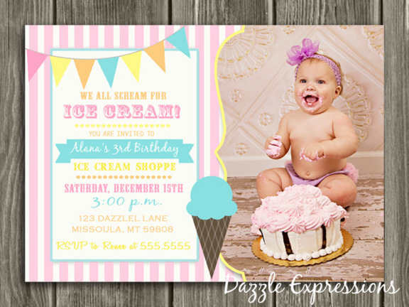 Ice Cream Birthday Invitation 5 - Thank You Card Included