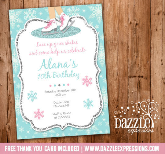 Printable glitter ice skating birthday party invitation girl glitter ice skating birthday invitation free thank you card included filmwisefo Image collections