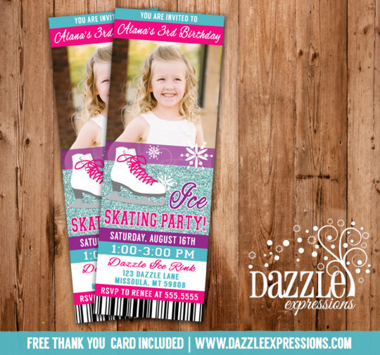 Ice Skating Ticket Invitation 1 - FREE thank you card included