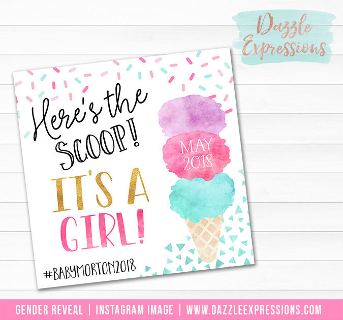 Ice Cream Watercolor Gender Reveal Announcement